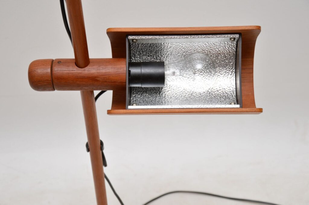 danish teak retro vintage rise and fall floor lamp