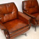 pair_danish_leather_chrome_swivel_armchairs_4