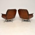 1960's Pair of Vintage Leather & Chrome Swivel Armchairs