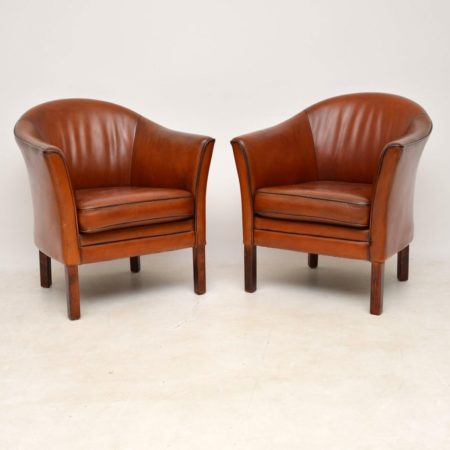 1960's Pair of Vintage Danish Leather Armchairs by Mogens Hansen