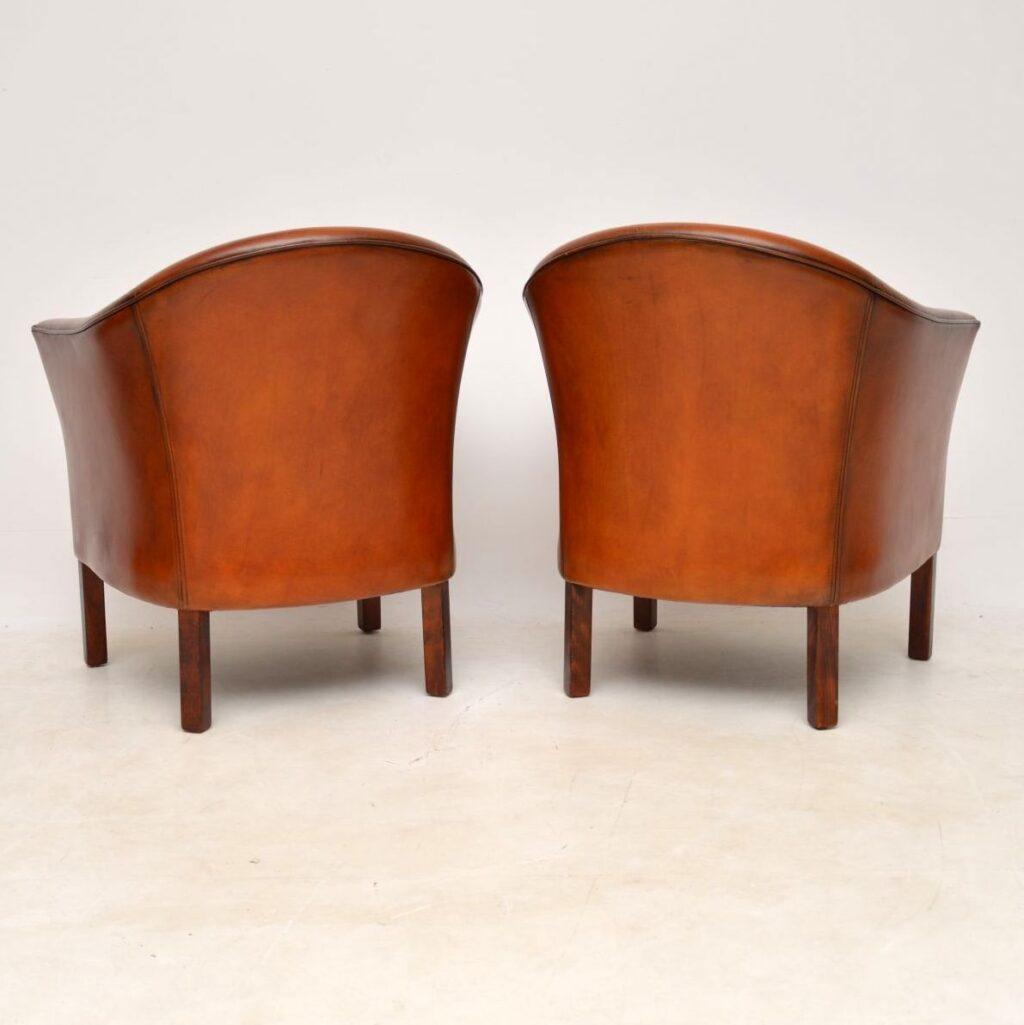 pair of danish retro vintage leather armchairs by mogens hansen