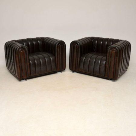 Pair of Josef Hoffman Club 1910 Leather Armchairs