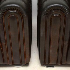 pair of vintage retro leather armchairs josef hoffman club 1910