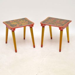 pair of vintage retro russian khokloma tables