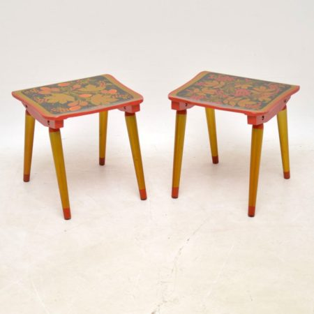 Pair of Vintage Russian Khokloma Side Tables