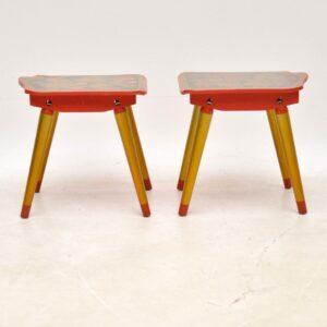 pair of vintage retro russian khokloma tables