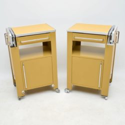 1970's Pair of Vintage Steel Side Cabinets / Tables