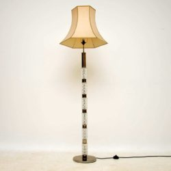 1960's Vintage Crystal Glass & Chrome Floor Lamp