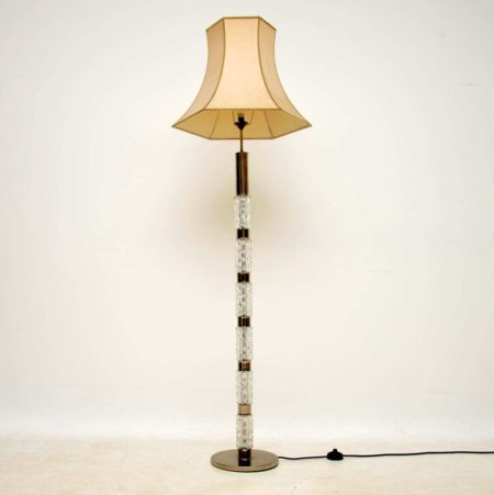 1960's Vintage Crystal Glass & Chrome Floor Lamp
