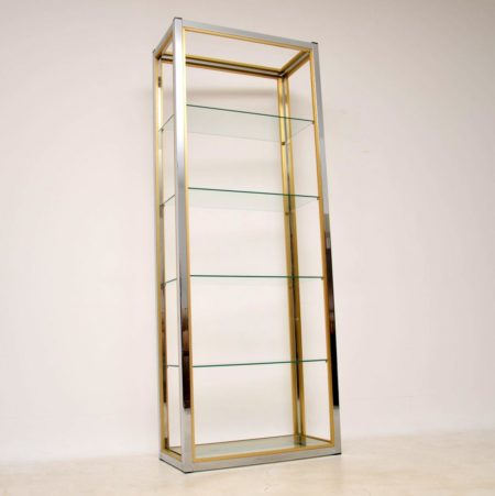 1970's Italian Chrome & Brass Display Cabinet / Bookcase by Zevi