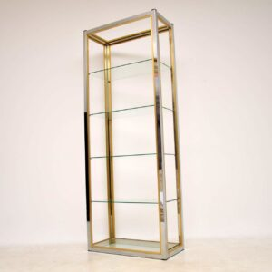 1970's Italian Chrome & Brass Display Cabinet / Bookcase by Zevi