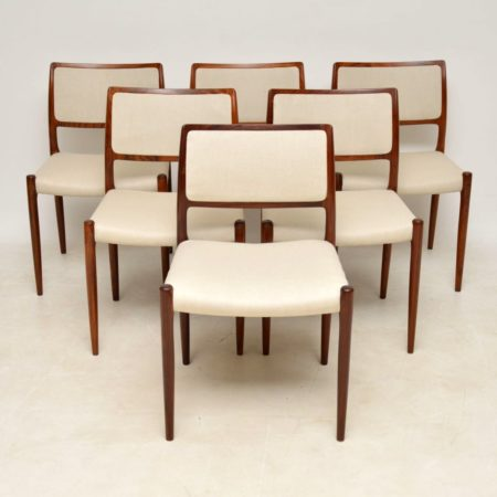 1960's Set of 6 Danish Rosewood Dining Chairs by Niels Moller