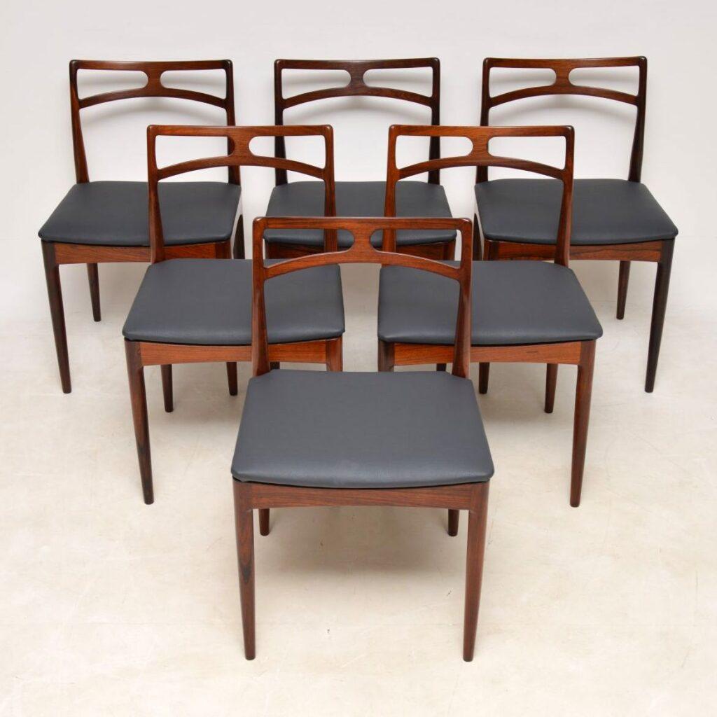 danish rosewood retro vintage dining chairs johannes andersen