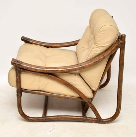 1970's Vintage Leather & Bamboo Armchair