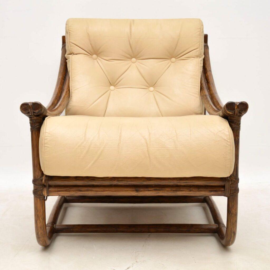 vintage retro bamboo leather armchair