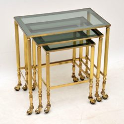1960's Vintage French Brass & Glass Nest of Tables