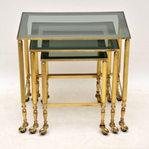 vintage retro french brass nest of tables