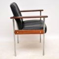 1960's Rosewood & Leather Desk Chair / Armchair by Dokka Mobler