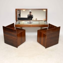 1970's Vintage Walnut & Chrome Dressing Table & Chests