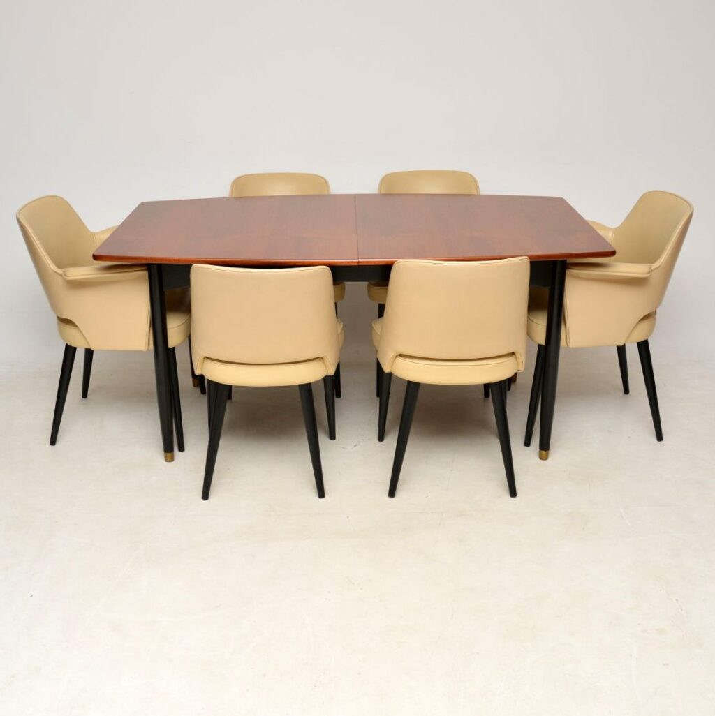 robin day hille vintage retro mahogany leather dining table chairs