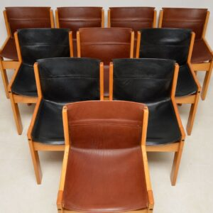 Set of 10 Vintage Italian Leather Dining Chairs