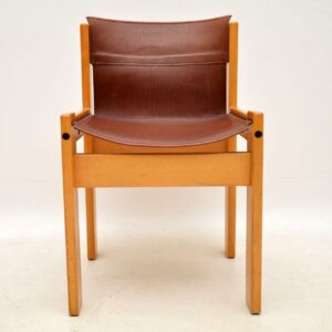 retro vintage italian leather dining chairs