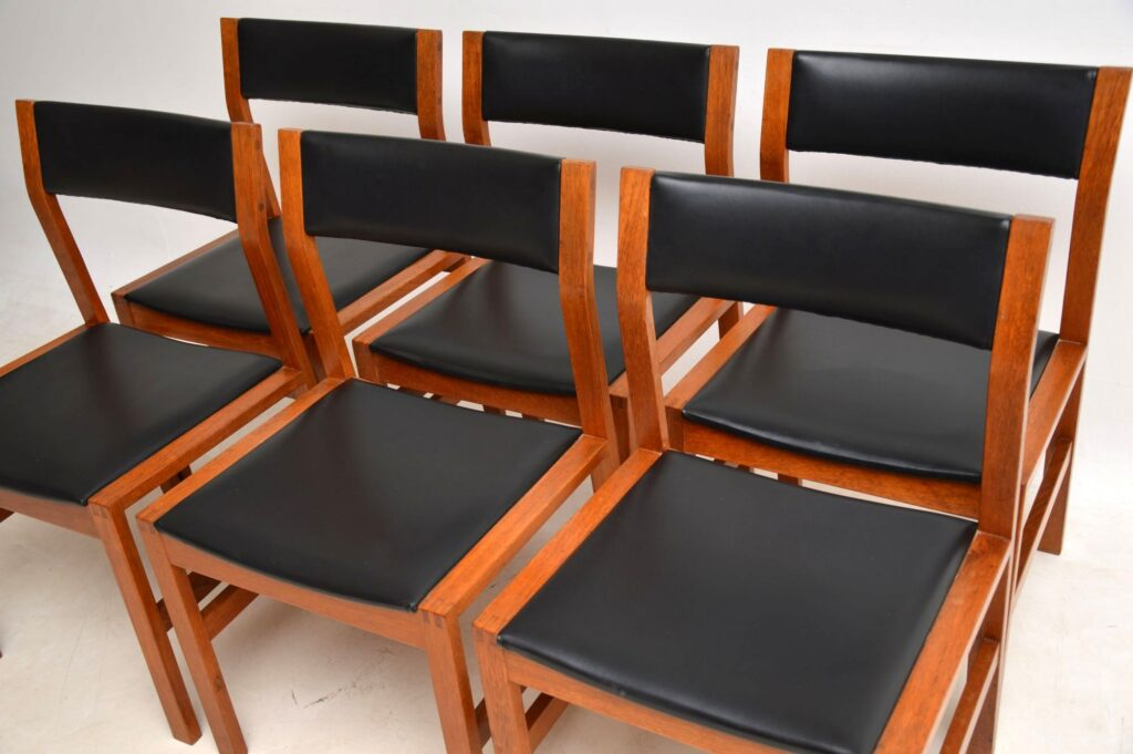 danish teak retro vintage dining chairs set of six 6