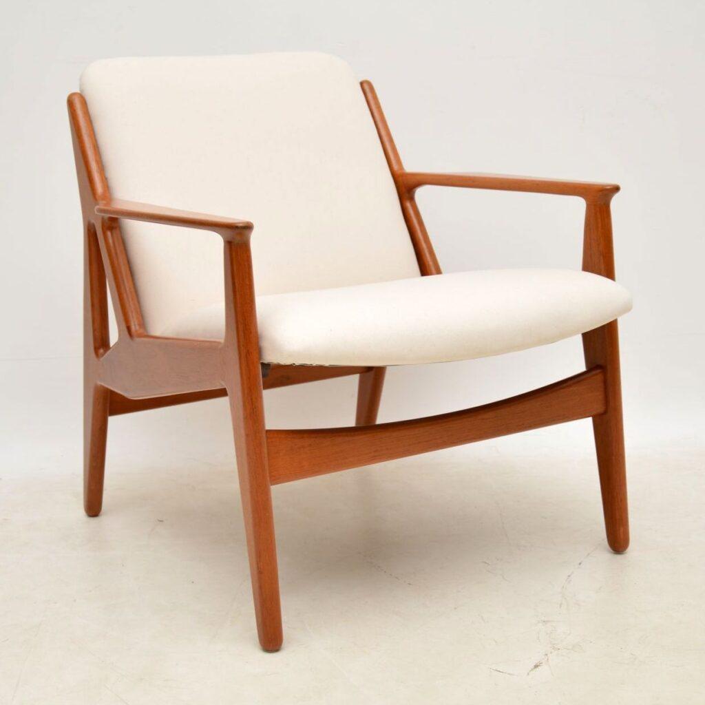 pair of danish retro vintage teak armchairs by arne vodder for vamo