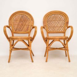 pair of retro vintage bamboo rattan armchairs