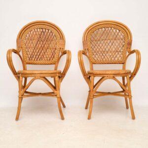 pair of retro vintage bamboo rattan armchairs