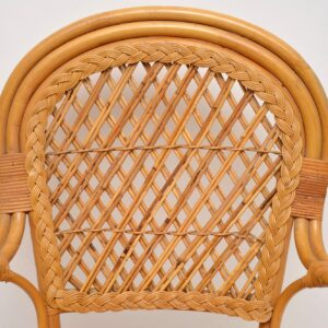 1970's Pair of Vintage Bamboo & Rattan Armchairs