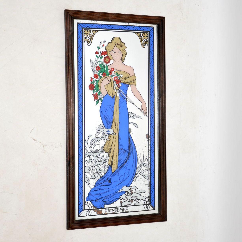 vintage retro antique art nouveau mirror mirrored print