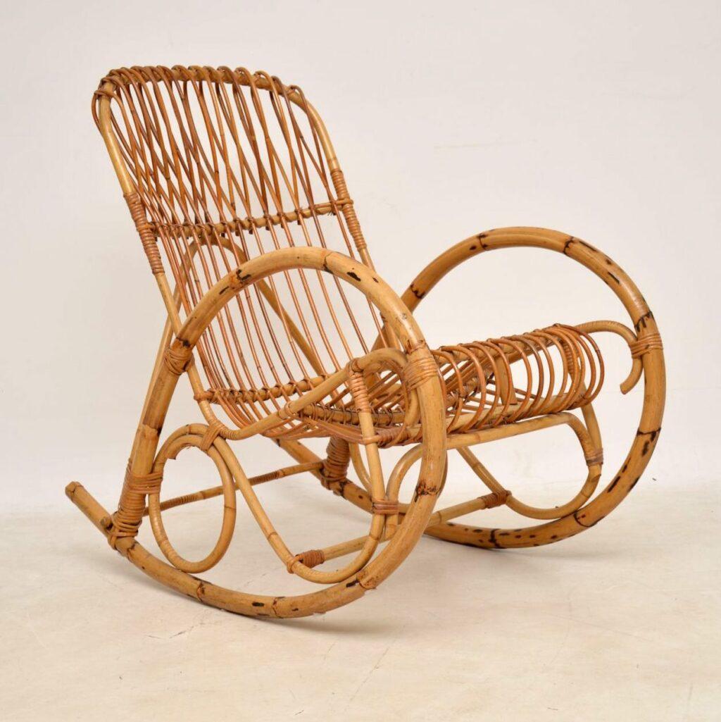 retro vintage bamboo rocking chair armchair