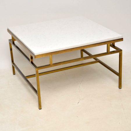 1960's Vintage Brass & Quartz Coffee Table