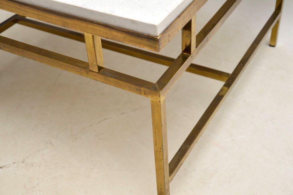 retro vintage brass marble quartz coffee table