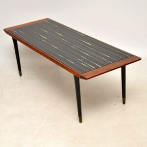 teak brass glass retro vintage coffee table
