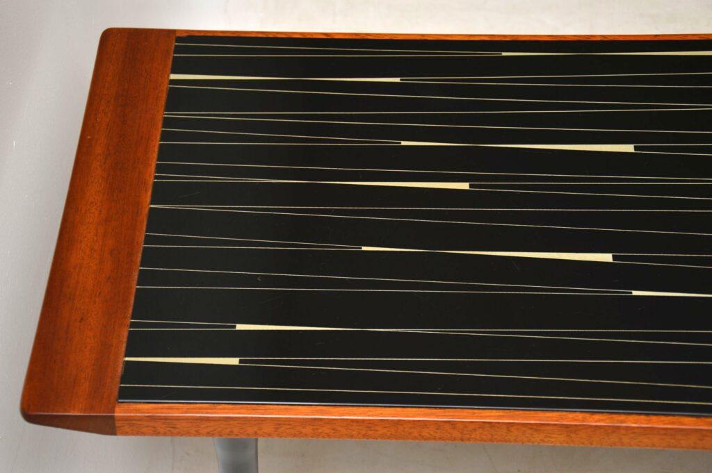 teak brass glass retro vintage coffee table