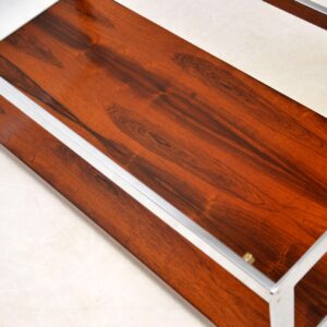 1970's Vintage Rosewood & Chrome Coffee Table by Merrow Associates