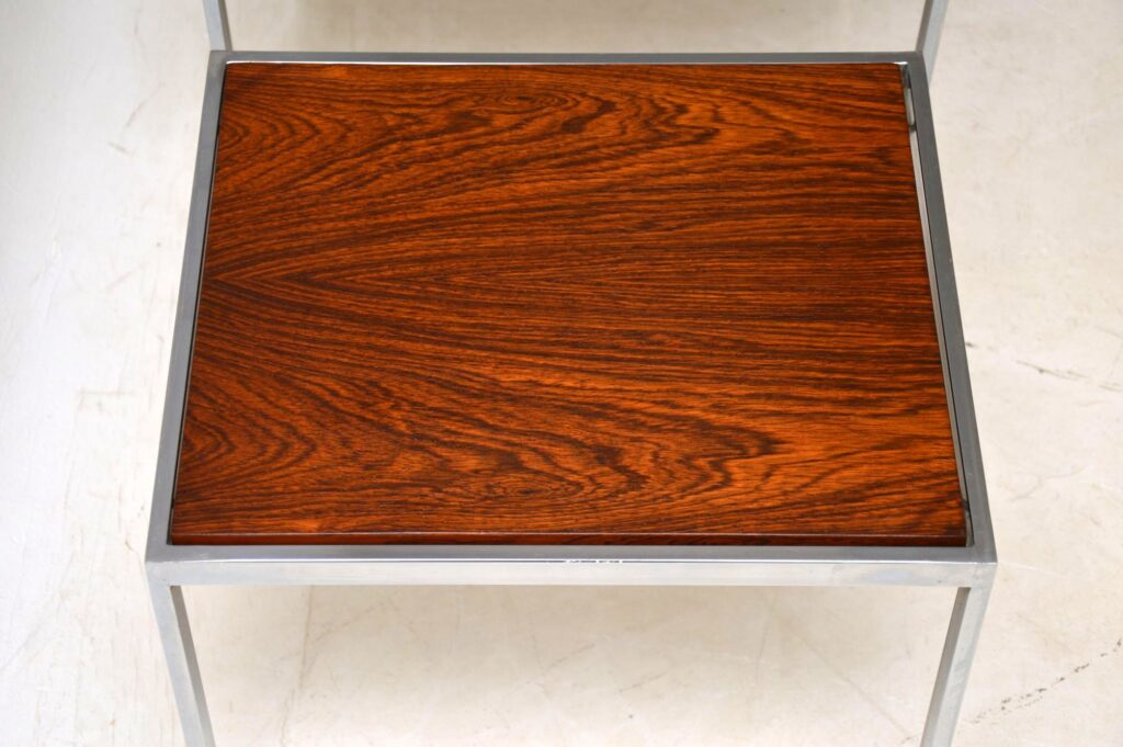 retro vintage rosewood chrome nest of tables