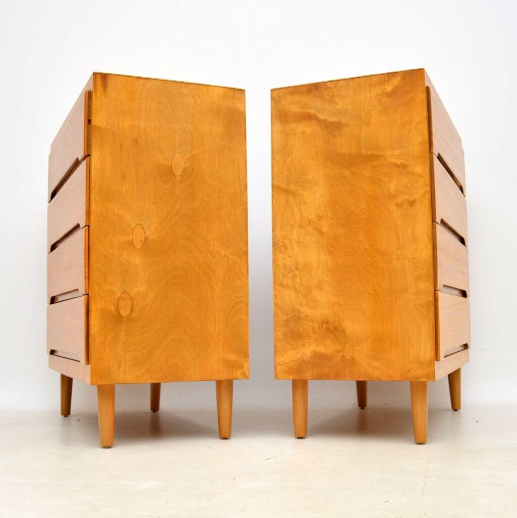 retro vintage satin wood chests chest of drawers pair