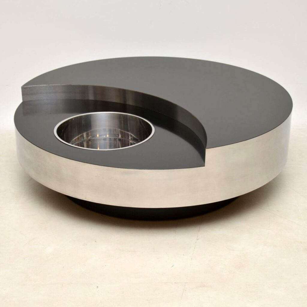 vintage retro willy rizzo yin yang coffee table