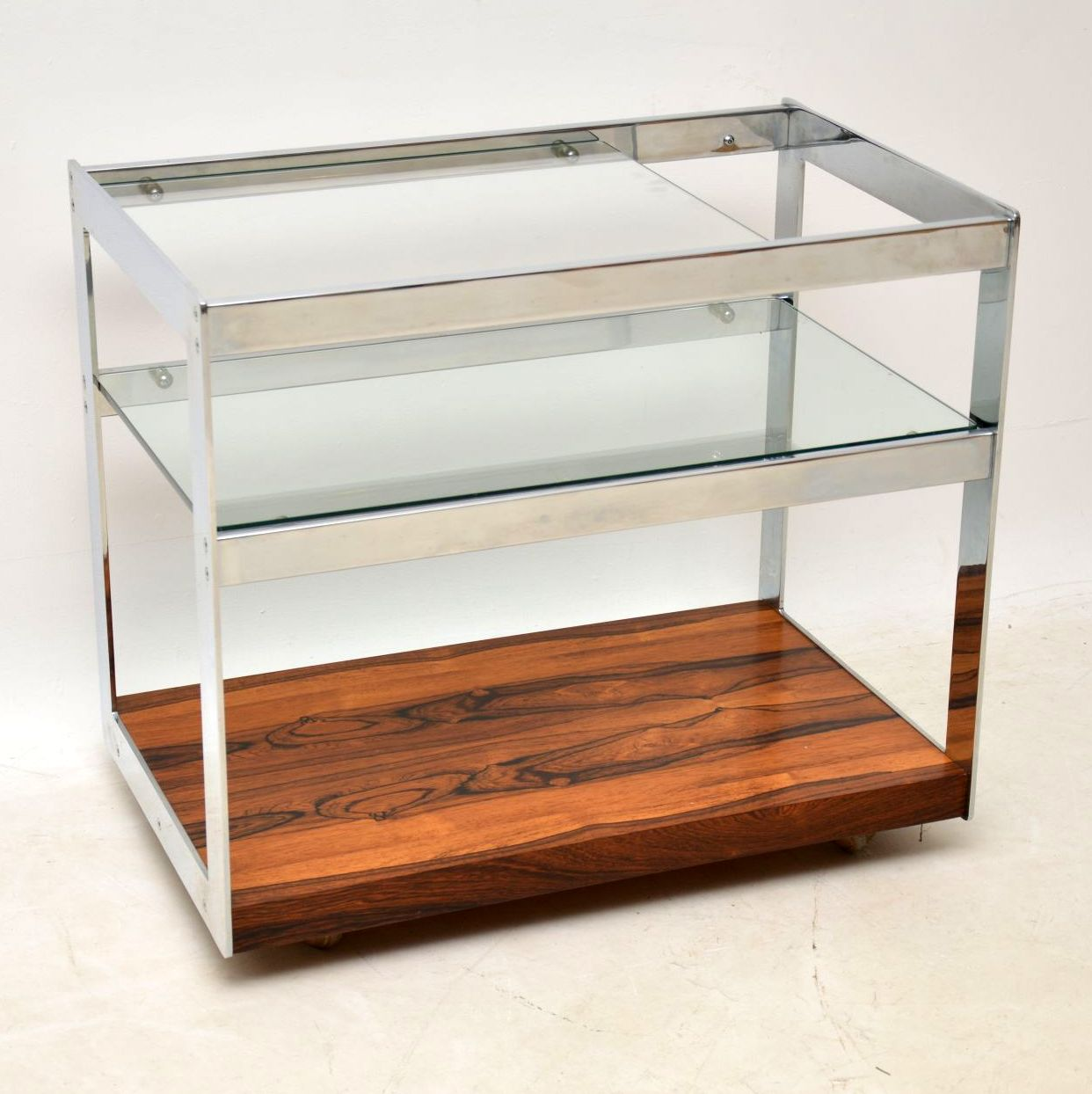 retro vintage rosewood chrome drinks trolley merrow associates 1970s