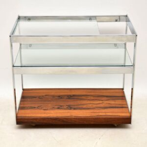 1970's Vintage Rosewood & Chrome Drinks Trolley by Merrow Associates