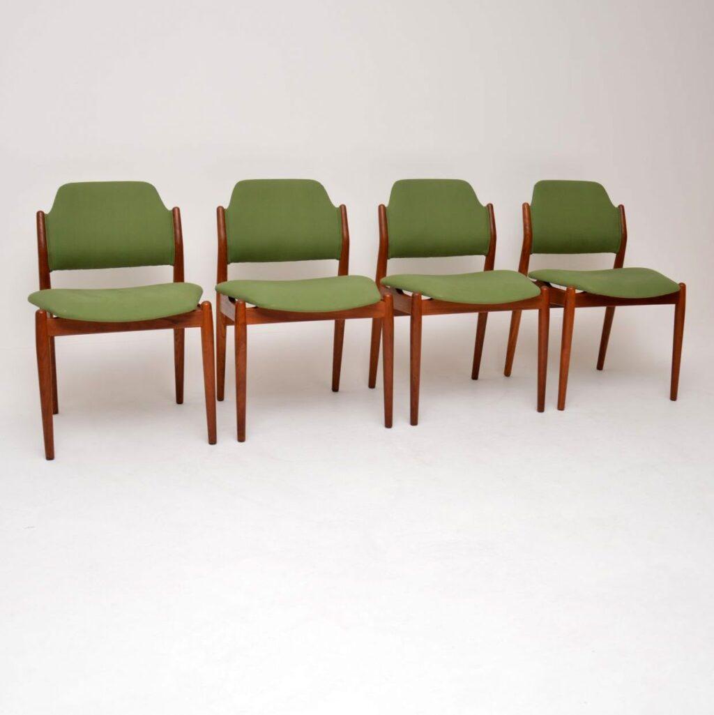 danish teak retro vintage dining chairs by arne vodder sibast