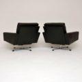 1960's Pair of Danish Vintage Leather Swivel Armchairs