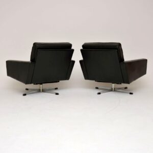 1960's Pair of Danish Vintage Leather Swivel Armchairs