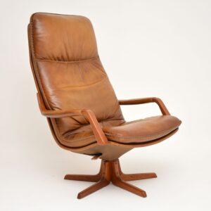 1970's Pair of Danish Leather & Teak Reclining Armchairs