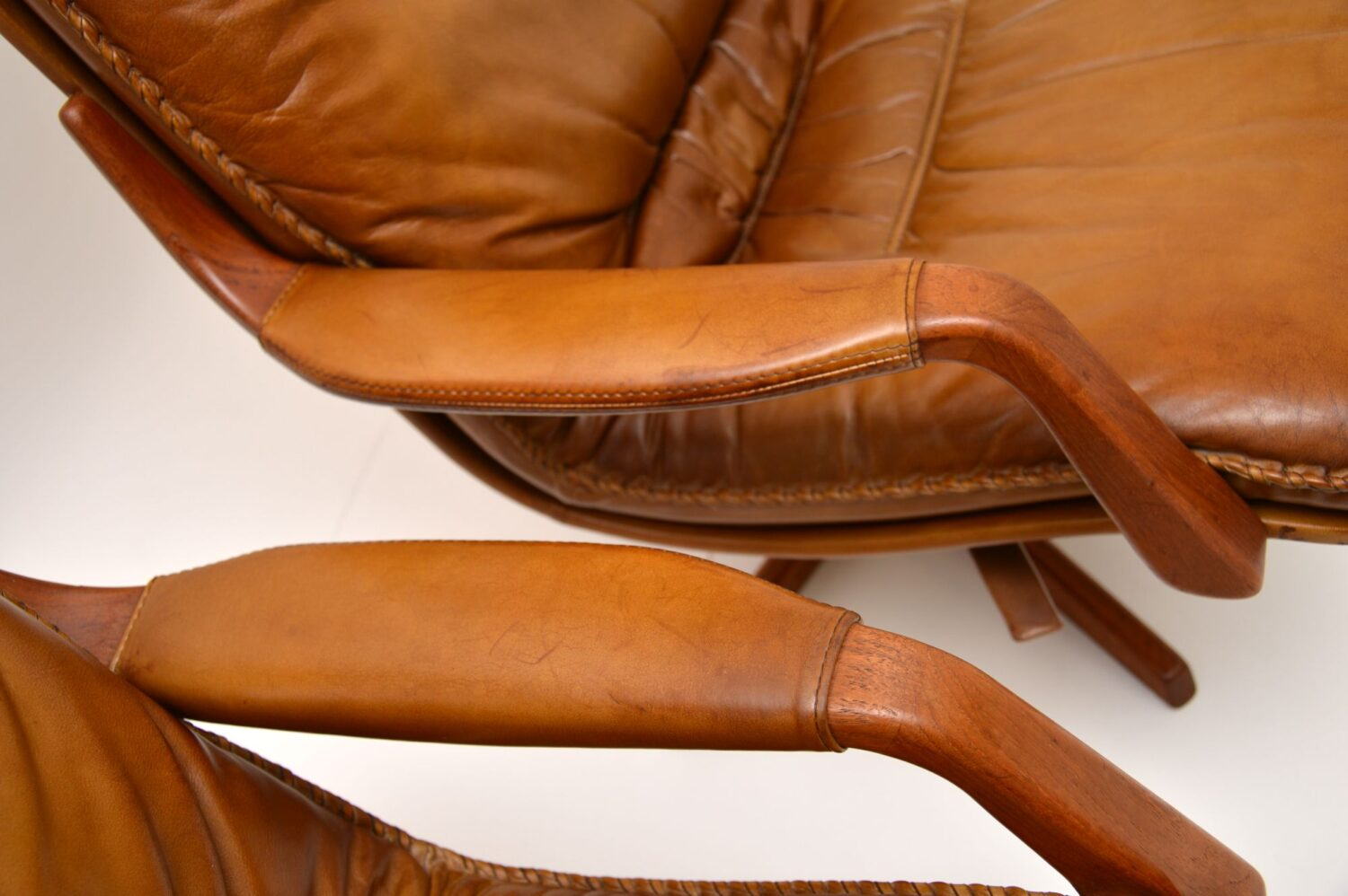 1970's Pair of Danish Leather & Teak Reclining Armchairs