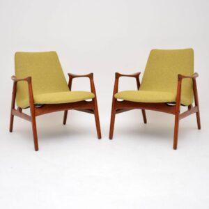 pair of danish retro vintage teak armchairs arne hovmand-olsen mogens kold