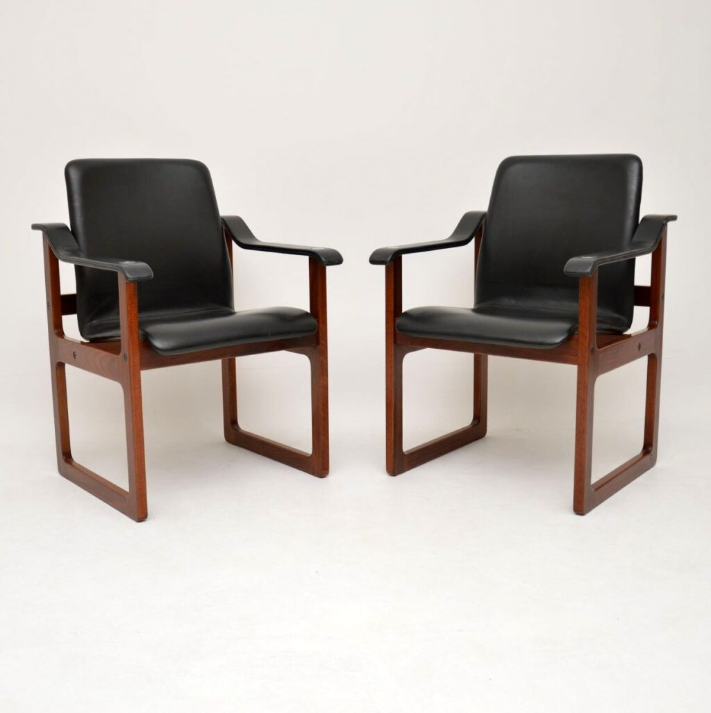 pair of danish rosewood leather armchairs dyrlund vintage retro